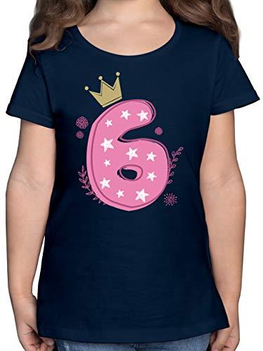 Geburtstag Kind - 6. Geburtstag Mädchen Krone Sterne - 128 (7/8 Jahre) - Dunkelblau - Shirt mit 8 - F131K - Mädchen Kinder T-Shirt