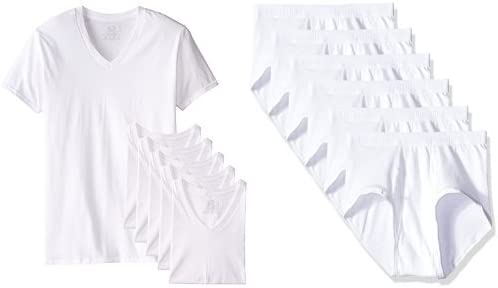 Fuit of the Loom Men's 6 Pack Stay Tucked V-Neck T-Shirt & Premium Brief Bundle