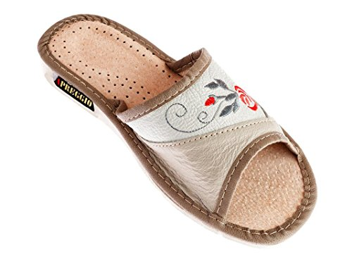 APREGGIO Hausschuhe Leder Damen Pantoffeln Gummisohle Latschen Fester Sohle Tragegefühl Komfort Bequeme Weich 100% Naturprodukt Handgefertigt (Beige, 39)