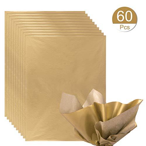 Naler 60 Fogli di Carta di Imballaggio per Regali Dorata Carta per Confezione Tagliabile Carta per Regalo Natalizio, Fai da Te, 38 x 50CM