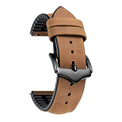BINLUN Correas de Reloj de Cuero 18mm 20mm 22mm Correa de Reloj de Piel para Hombre Mujer Correas Reloj de Repuesto Híbrida de Cuero Silicona de Liberación Rápida Negro Azul Marrón Rojo Verde