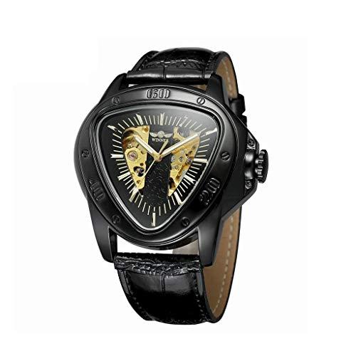 Herren-Armbanduhr Mechanische Uhren für Männer Wasserdicht Business Automatische Mode Analog Dreieckige Schwarzes Zifferblatt Kleid Armbanduhr (Farbe : B)