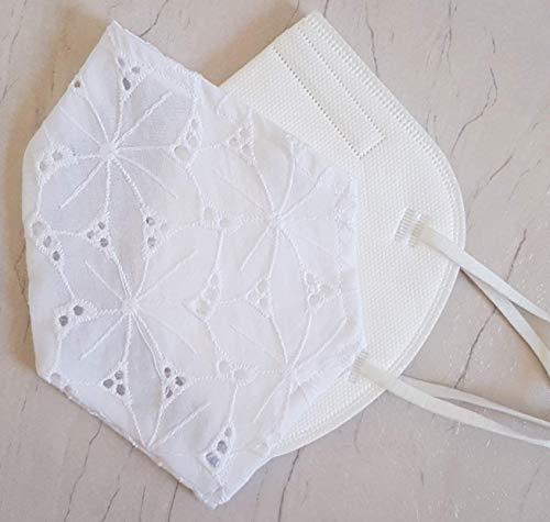 Überzug Cover für Masken für Mundschutz Spitze 100% Baumwolle Lochmuster in weiß Hochzeit Taufe Brautmaske festliche Maske Verschönerung Maskenüberzug Kommunion waschbar Handarbeit
