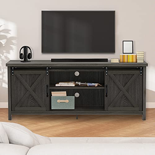 GAZHOME Farmhouse TV Stand with Sliding Barn Doors, Modern...