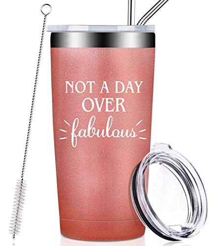 Not A Day Over Fabulous, Funny Birthday Gifts for Women, Her, BFF, Best Friends, Coworker, Mom, Aunt, Daughter, Wife, Stainless Steel Insulated Tumbler Cup with Lid and Straw