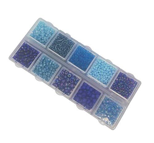 Rocailles blauw parels set 2 mm 3 mm 4 mm met sorteerbox 120 g kleurtinten glaskralen in box ronde parelenset knutselset sierparels miniparels Indianenkralen