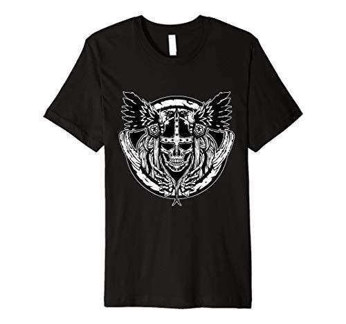 Skull Raven Nordic Axt Odin Thor Viking Norse Mythology Premium T-Shirt