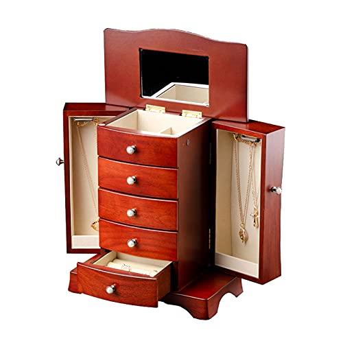 Joyero Organizador de Joyas Caja de joyería de madera para mujer caja de joyería de madera maciza con estilo de torre 4 cajones organizador y 2 puertas abiertas separadas en 2 lados y espejo grande Ca