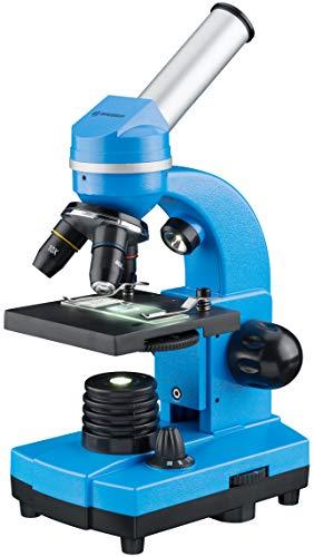 Bresser Junior Schülermikroskop BIOLUX SEL mit Smartphonehalter, reichhaltigem Zubehör und Barlow-Zoom-System für Kinder, Einsteiger und Erwachsene, blau