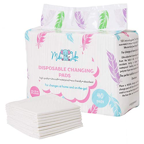 MikiLife Baby Disposable Changing Pad - 40 Pack Premium Diaper Changing Table Protector - Ultra Absorbent and Soft Incontinence Pads - Portable Waterproof Underpads - Large Leak-Proof Pet Training Mat
