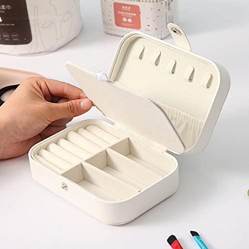 i-Found Joyero organizador pequeño viaje PU cuero joyería almacenamiento caso para anillos pendientes collar pulseras cuero sintético joyería caja de regalo niñas mujeres (blanco)