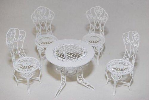 alles-meine.de GmbH Gartenmöbel 4 Stühle und 1 Tisch - aus Metall - Möbel Set Nostalgie weiß - Maßstab 1:12 - Miniatur für Puppenstube / Puppenhaus - Garten