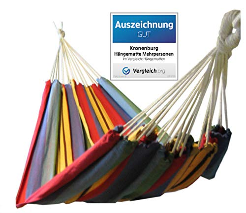 Kronenburg Hängematte Mehrpersonen 210 x 150 cm, Belastbarkeit bis 300 kg - Auszeichnung GUT - Vergleich.org