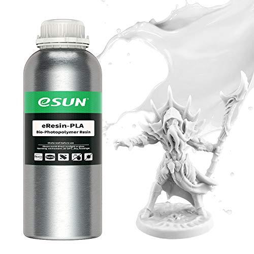 eSUN LCD UV 405nm Resina Plant-based per Stampante 3D Resina PLA Biodegradabile Fotopolimerizzante UV Resina Fotopolimerica Rapida per Stampa 3D LCD, 1000g Bianca