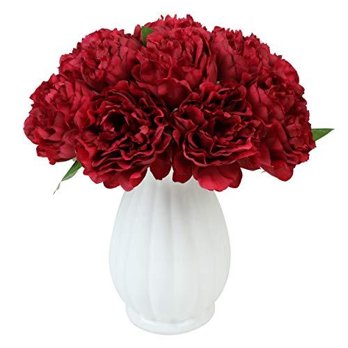 Furnily Flores de peonía Artificiales de Seda para Ramo de Boda, arreglos Florales, Rojo, 2 Bouquets