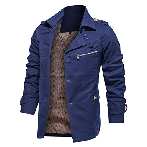 Men's Thicken Fleece Cotton Military Tactical Work Jackets Outwear Pure Color Breathable Plus Size Washing Autumn Winter Coat Blue