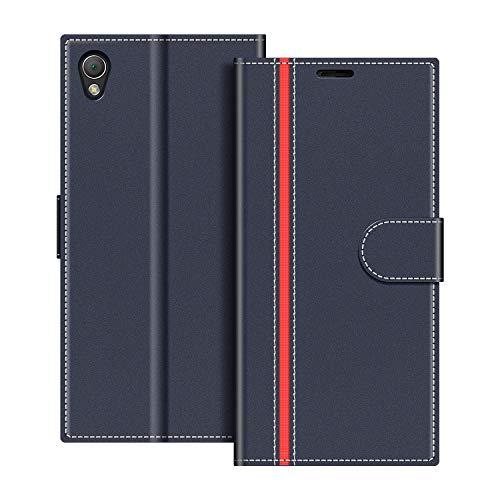COODIO Handyhülle für Sony Xperia Z3 Handy Hülle, Sony Xperia Z3 Hülle Leder Handytasche für Sony Xperia Z3 Klapphülle Tasche, Dunkel Blau/Rot