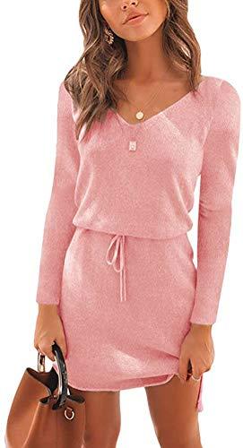 Onsoyours Damen Strickkleid Winter V-Ausschnitt Langarm Mini Pulloverkleider Rosa 38