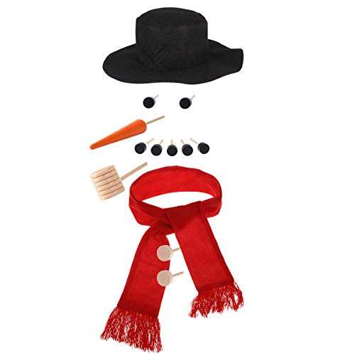LUOEM Snowman Decorating Dressing Kit Winter Holiday Outdoor Toys Hat Scarf Pipe Eyes Mouth Button Nose Snowman Making Building Accessories