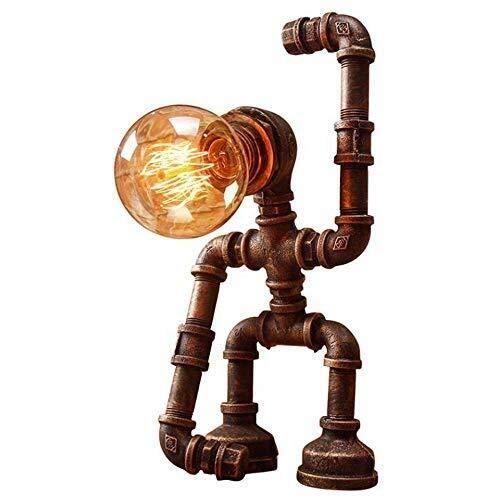 L-yxing-alto brillo Retro industrial en forma de hierro steampunk escritorio lámpara mesa de mesa simple original robot agua pipa noche luz vintage restaurante bar dormitorio sala de estar escritorio