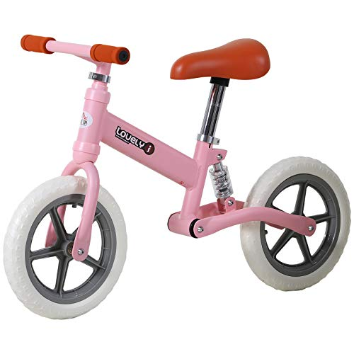 HOMCOM 12' Kids Balance Bike No Pedal Bicycle EVA Tire Adjustable Seat Toddler Training Bike W/ Shock Absorber 2 - 5 Years Pink
