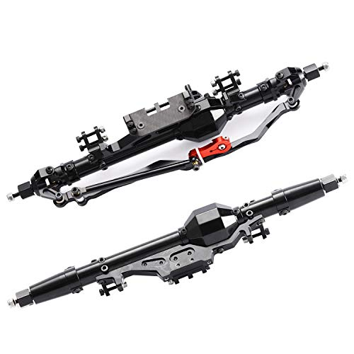 RZXYL Aluminum Front and Rear Axle for 1/10 Axial Wraith 90018 90048 90053 90018 90020 90045 90056 RR10 RC Model Crawler Car (Black)