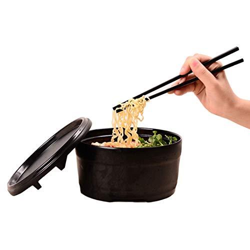 GCE Juego de Cuencos japoneses para Ramen de melamina con Tapa vajilla de plástico Duro Cuenco para Sopa para Fideos con Palillos y cucharas a Juego Cuenco Grande para Fideos Udon Soba Pho