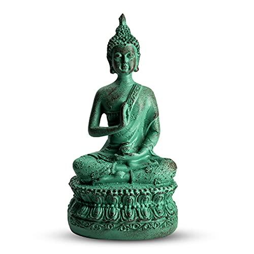 CYYKDA Buddha Statues for Home. 7' Shakyamuni Sitting Buddha Statue, Collectibles and Figurines, Meditation Decor, Zen Buddhism Decor, Spiritual Living Room Decor-Verdigris