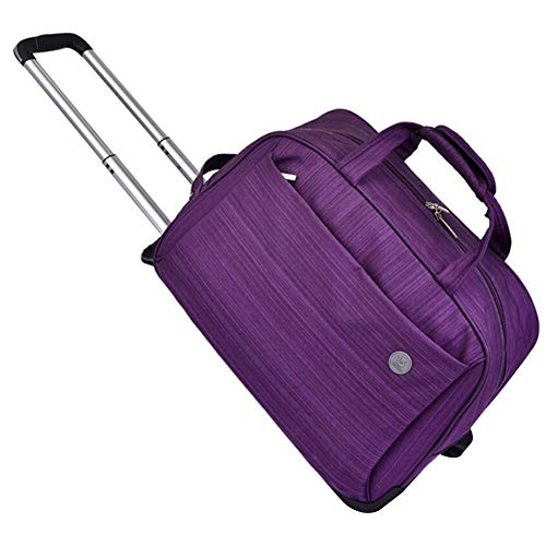 Adlereyire Laptop Trolley Bag Large-Capacity Stylish Lightweight Duffel Bag Convenient Rollers Waterproof Wear-Resistant Protection (Color : Purple, Size : 24-inches)