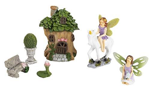 Einhorn-Gartenfeen-Figuren, skurriles Dekor (6 Stück)