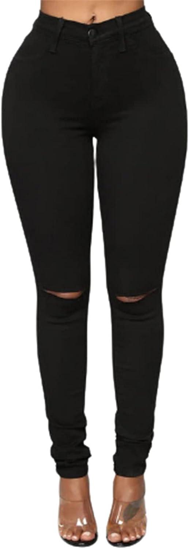 Womens Ripped Skinny Jeans Trendy Casual Boyfriend High Waist Stretch Button Slim Fit Denim Pencil Pants Trouser