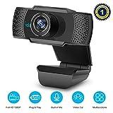 vcloo webcam 1080p avec microphone - caméra full hd pour ordinateur de bureau et portable usb de bureau pour appels vidéo, études, conférence, enregistrement, jeux, avec clip rotatif