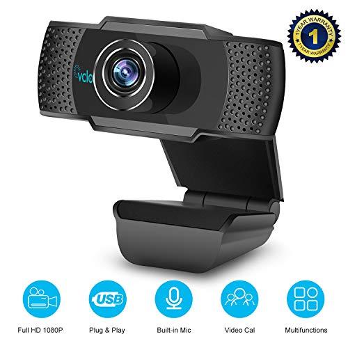 vcloo Webcam 1080P Full HD con Microfono - PC Portatile Desktop USB 2.0 Videocamera per Videochiamate, Studio, Conferenza, Registrazione, Gioca a Gioc