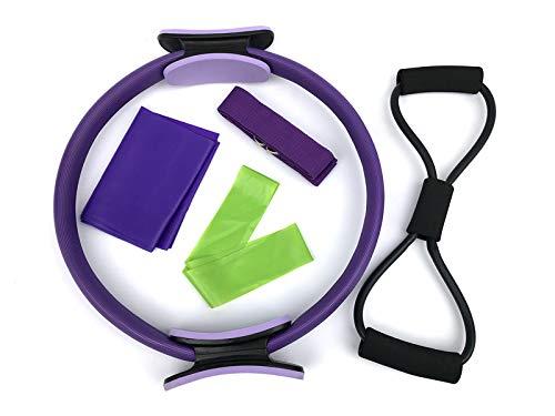 Chicya Set de fitness – 5 piezas: anillo de pilates y bandas de resistencia, banda de pilates y banda elástica de yoga y 8 palabras para fitness, pilates, yoga en casa