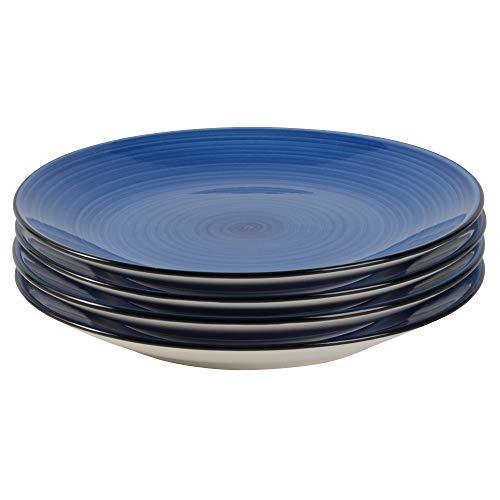 ProCook Coastal - Vaisselle de Table en Grès - 4 Pièces - 22cm - Petite Assiette - Motif Spirales - Blanc Crème & Bleu