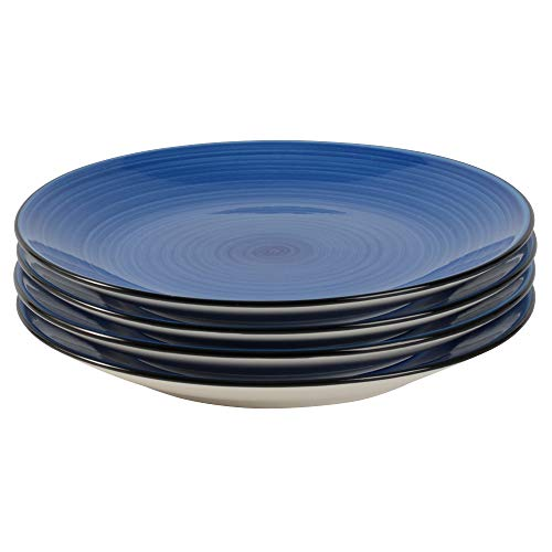 ProCook Coastal Stoneware Side Plates - Cream and Blue Striped - Set of 4 - Plates with Charming Coastal Style for Light Meals, Lunches, Starters or Breakfasts