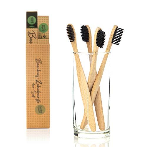 bambuswald© 4er Packung plastikfreie Zahnbürsten aus Bambus | Holzzahnbürste für weisse Zähne - langlebig, nachhaltig & umweltschonend! Handzahnbürste/Naturzahnbürste für Kinder & Erwachsene