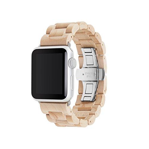 Woodcessories - Strap kompatibel mit Apple Watch Series 1, 2, 3, 4 & 5 aus Echtholz - EcoStrap (Ahorn/Silber, 38/40 mm)