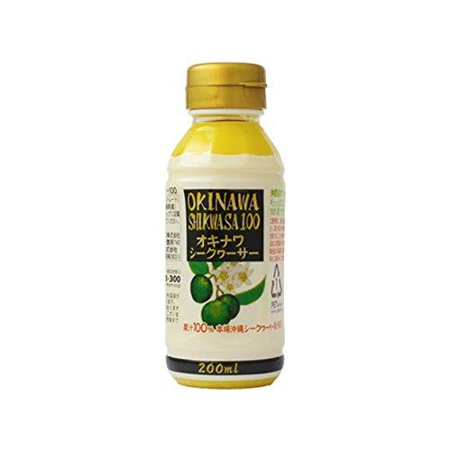 オキナワ シークヮーサードリンク 100 200ml×15本 オキハム 沖縄県産のシークワーサーをまるごと搾った100%果汁 酸味が強くスッキリとした味わいのドリンク