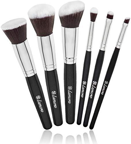 Brochas Base Polvos Ojos de Maquillaje Profesional Kabuki - Set Pinceles Maquillaje Sintético - Fibras Veganas de Larga Duración - Calidad Premium