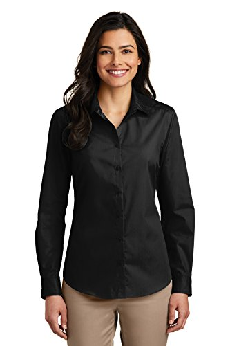Port Authority Women's Long Sleeve Carefree Poplin Shirt, Deep Black, X-Large