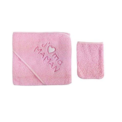 Parure de bain pour bébé rose - J'aime ma maman