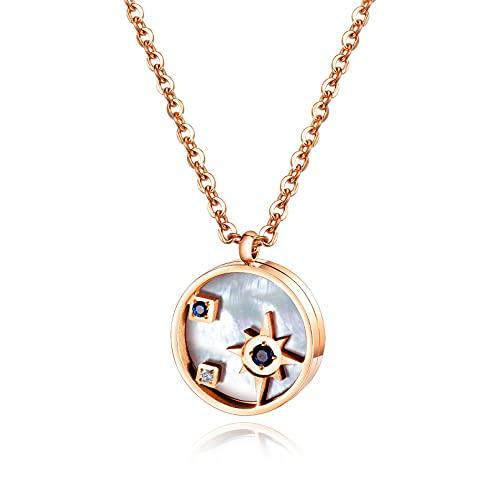 QiuYueShangMao Collar de Speyeria Blanco de Acero de Titanio, Cadena de clavícula, Collar de Cuello Simple de Estilo japonés y Coreano Femenino Regalos Collar Regalo de cumpleaños