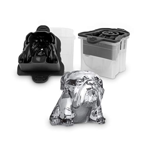 Tovolo Leak-Free, Slow-Melting Novelty Bulldog Ice Silicone Sealed Lid Anti-Tip, Set of 2 Stackable Molds for Whiskey, Spirits, Liquor, Cocktails, Soda & More, 2.5in
