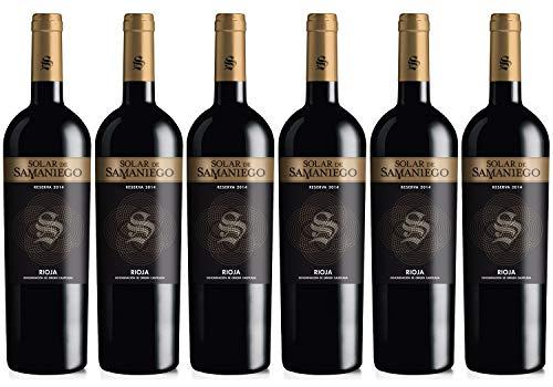 Solar de Samaniego – Vino Tinto Reserva 2014 Denominación de Origen Calificada Rioja Alavesa, Variedad Tempranillo, 12 meses en barrica – Caja de 6 botellas x 750 ml – Total: 4500 ml