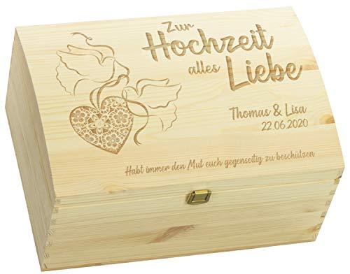 LAUBLUST Holztruhe zur Hochzeit - Turteltauben - Geschenkkiste Personalisiert mit Gravur - ca. 35x25x19cm, Natur, FSC®