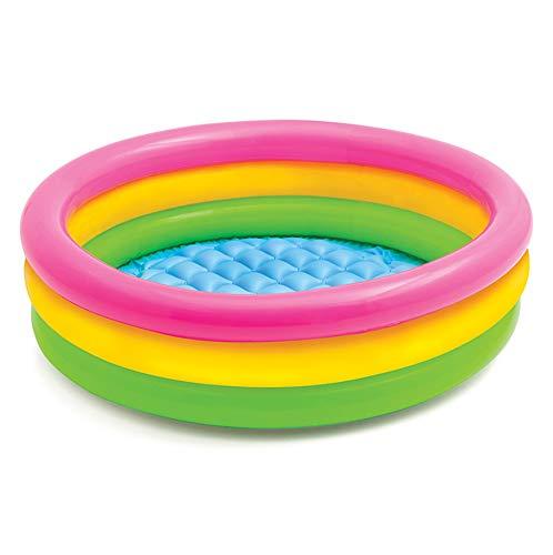 GLLCYL Aufblasbare Pools Kinderpool Gartenpool, Runder Regenbogen Planschbecken Kinder Aufblasbarer Pool-86 * 25Cm