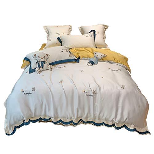 DYXYH Süße Bogen-Bettwäsche Set Queen-Size-Stickerei-flaches Blatt ägyptische Baumwolle Bettbezug 4pcs (Color : Yellow, Size : 2.0M)