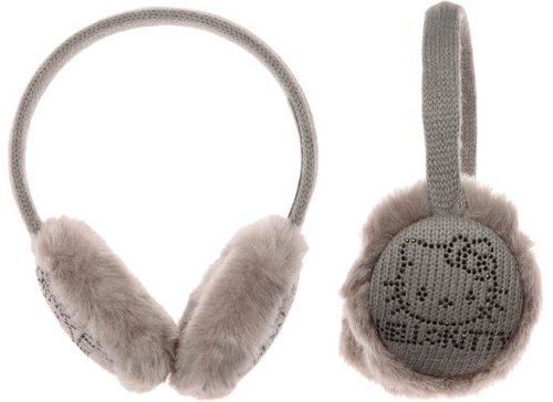 Hello kitty - Cache Oreilles strass laine et strass enfant/ado/adultes gris