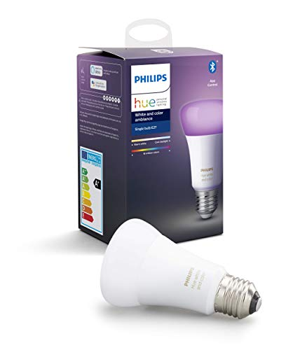 Philips Lighting Hue White and Color Ambiance Lampadina LED Singola Connessa, con Bluetooth, Attacco E27, 9W, 1 Pezzo, Dispositivo Certificato per gli umani